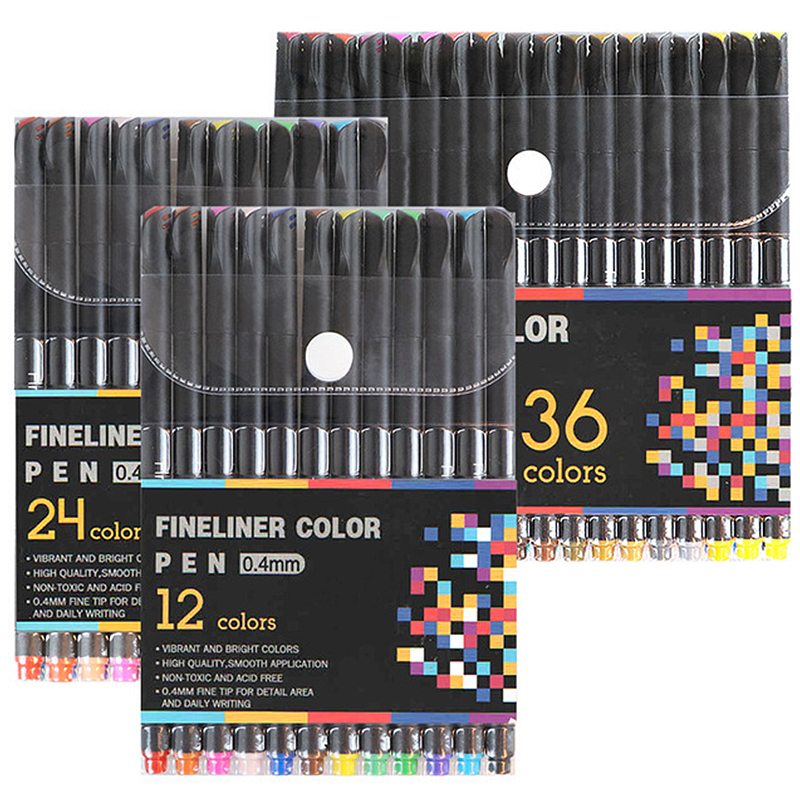 Fineliner Fine Point Pens, 12 24 36 <font><b>60</b></font> <font><b>100</b></font> Colors 0.4mm Markers Pen Set for Drawing Bullet Writing Note Calendar Adult Coloring image