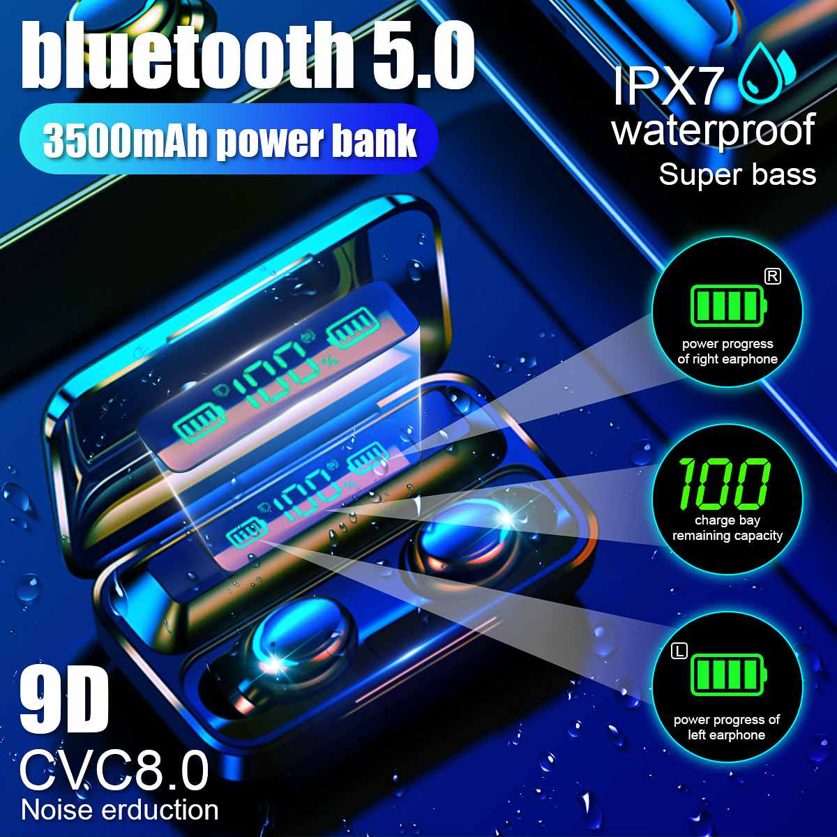 TWS Bluetooth Earphone V5.0 Touch Wireless Earbuds 9D Stereo Sport Waterproof Headset Handsfree LED Power Display With Mic