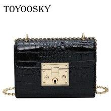 TOYOOSKY Luxury Crocodile Grain Patent Leather Crossbody Bags For Women Shoulder Bag Ladies Handbags Bolsa Feminina Sac A Main