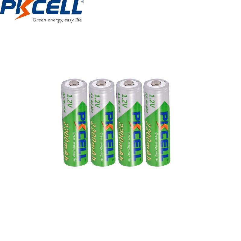 PKCELL 1.2V 2200mAh AA Rechargeable Battery AA NiMH  2A Pre-charged Rechargeable Batteries Ni-MH Bateria  For Camera 4PCS