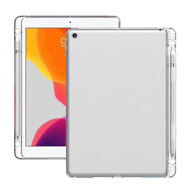 Case for iPad 7th Gen 10.2 Transparent Case with Pencil Holder TPU Protective Cover Tablet cover Stand Case Shell G10