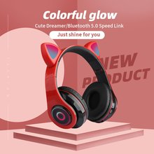 Wireless headphones MP3 player with LED colorful breathing lights cat ears with microphone Bluetooth headset