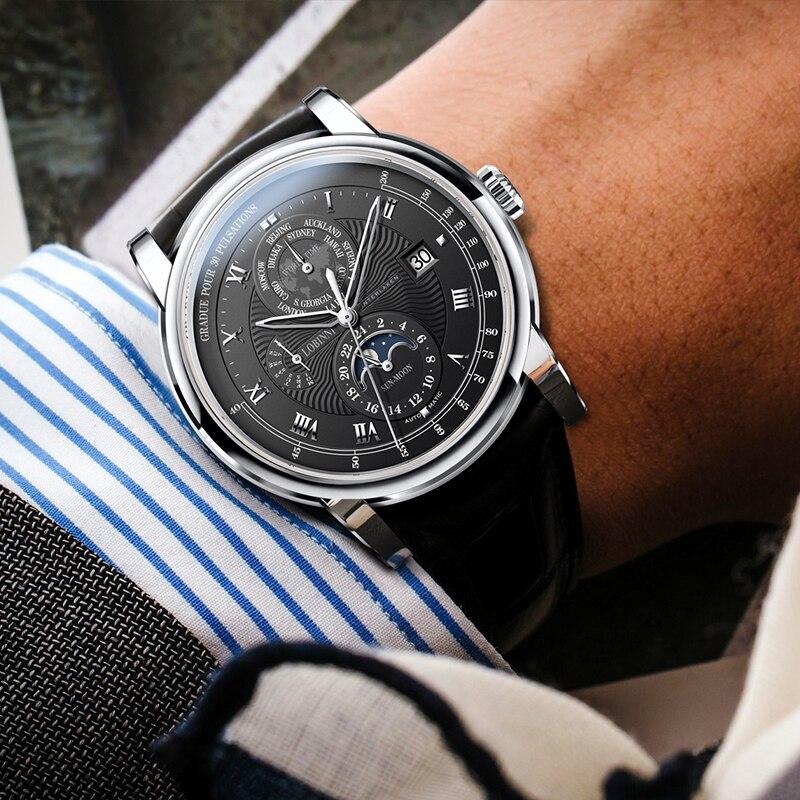 LOBINNI Luxe Merk Automatische Mechanische Horloges Man Lederen 50m Waterdicht Heren Skeleton Horloge Rose Gold Sapphire Montre Homme - 5