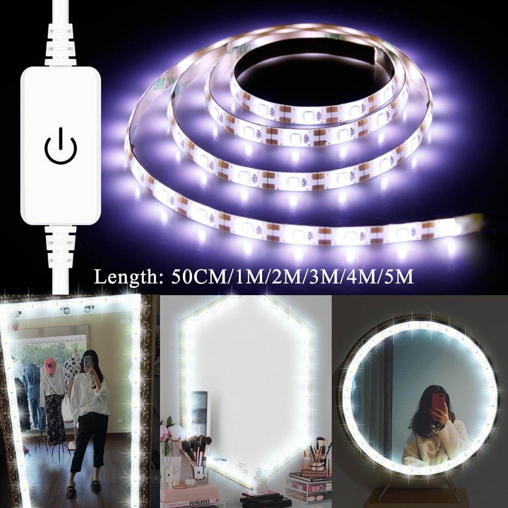 USB Led Makeup Mirror Light DC 5V Vanity Mirror Wall Lamp Tape LED Strip Light 1M 2M 3M 4M 5M Dimmable Dressing Table Lights Kit