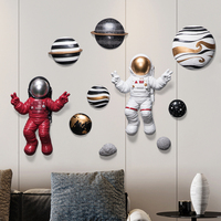 White Red Space Astronaut Raise Hands Victory Gesture Wall Hanging Decor 3D Solar System Planet Sculpture Figurines Crafts Horn