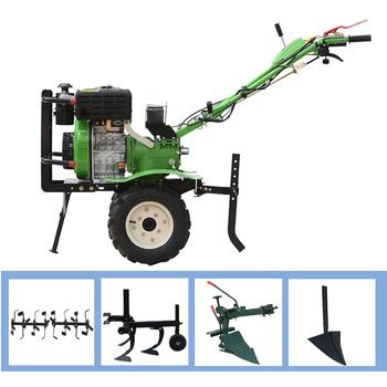 цена на Multifunction micro tillage machine tiller 10hp diesel power starter + rubber wheel + iron wheel + rotary tiller + trenching