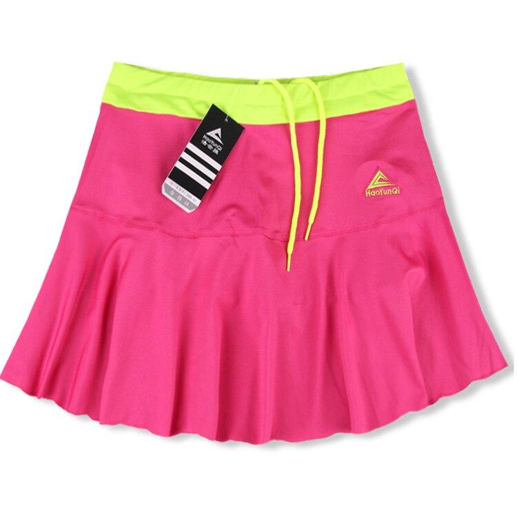 Женская Спортивная юбка весна лето тонкий анти-светильник Быстросохнущий дышащий пот Бег Фитнес стрейч шорты с шорты безопасности - Цвет: rose red
