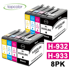 цена на Topcolor 8PK 932 933 XL Full Ink Cartridge Compatible HP 932 HP933 HP-932 HP-933 for HP Officejet 6700 7110 7610 6100 Printer