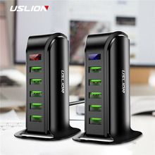 USLION 5 Port Multi USB Ladegerät Led anzeige USB Ladestation Universal Handy Desktop Wand Hause Ladegeräte EU UNS UK Stecker