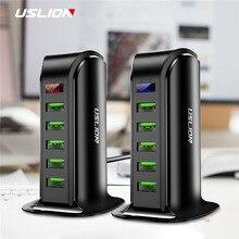 USLION 5 Port wielofunkcyjna ładowarka USB wyświetlacz LED USB stacja ładowania uniwersalny telefon komórkowy pulpitu zegar ścienny Home ładowarki ue usa UK wtyczka