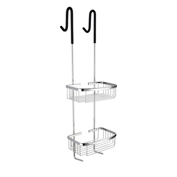 SBH171 Multifunctional 304 Stainless Steel Double Layer Shelf Home Wall Mounted Storage Basket Toilet Hanging Shelf With Hook