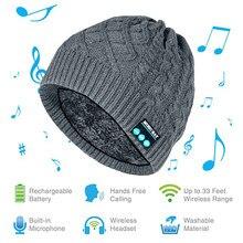 MZ019 BT5.0 connecté en un clic répondre/raccrocher musique hiver tricoté chapeau intégré Microphone 200mAh Rechargeable batter-y