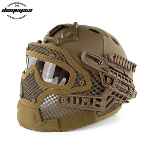 Image 2 - TAN Tactical Helmet with Mask Airsoft Helmet Paintball Fullface Protective Face Mask Helmet for Sports CS Military Helmet