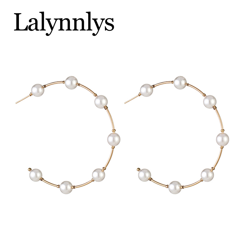 Lalynnlys Fashion Elegant Imitation Pearl Drop Dangle Earrings for Women Big Circle Round Earring Party Wedding Jewelry E54781 18
