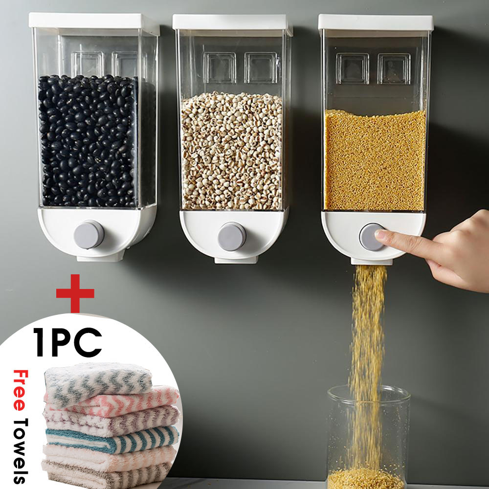 1000/1500ML Wall Hanging Whole Grains Food Storage Container Kitchen Grain Rice Beans Sealed Jars Oatmeal Dispenser