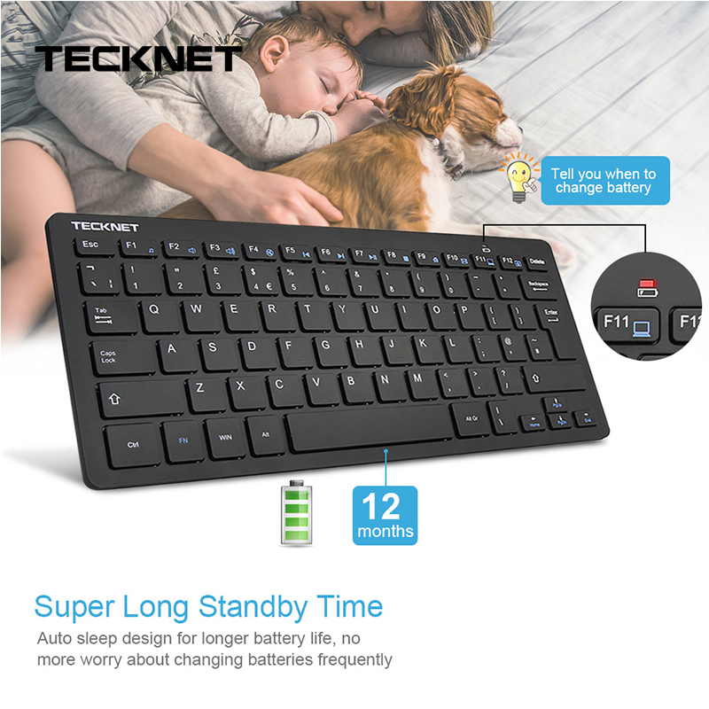 Tecknet ultra fino 2.4 ghz teclado sem fio whisper-silencioso teclado do reino unido para windows10/8/7/vista uk layout design de teclado