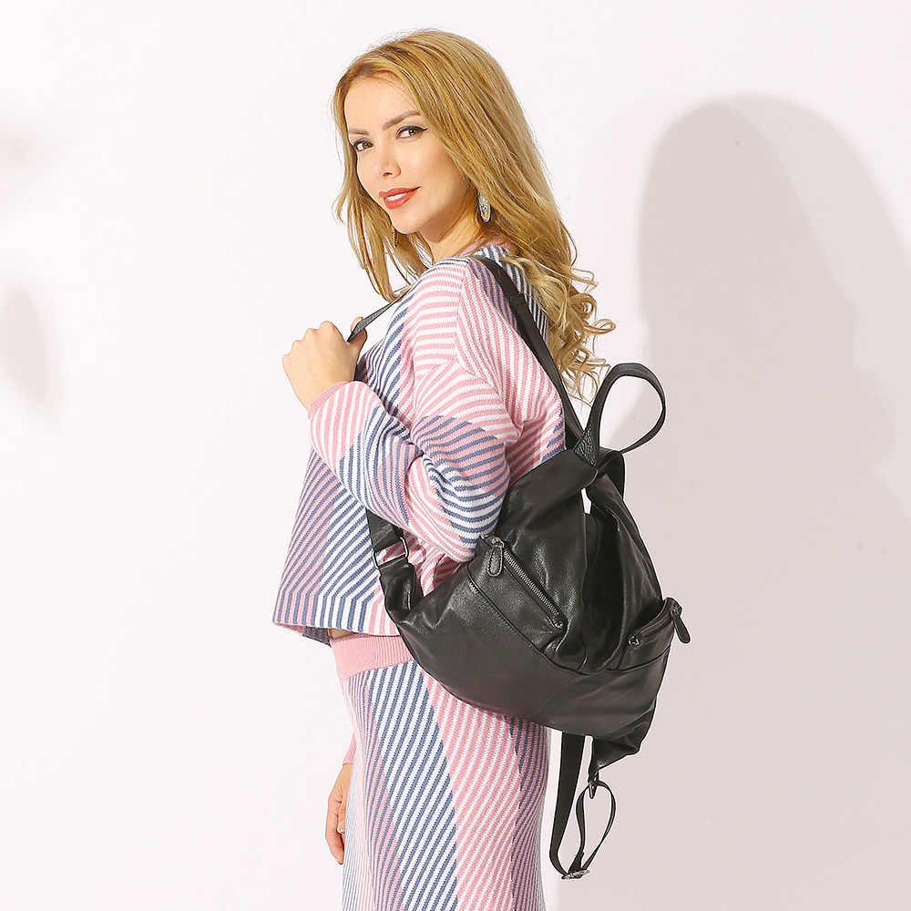 """""""ייחודי סגנון נשים תרמיל 100% עור פרה עור אמיתי אופנה תיק נסיעות שחור ליידי תרמיל ילדה של ילקוט מחברת"""