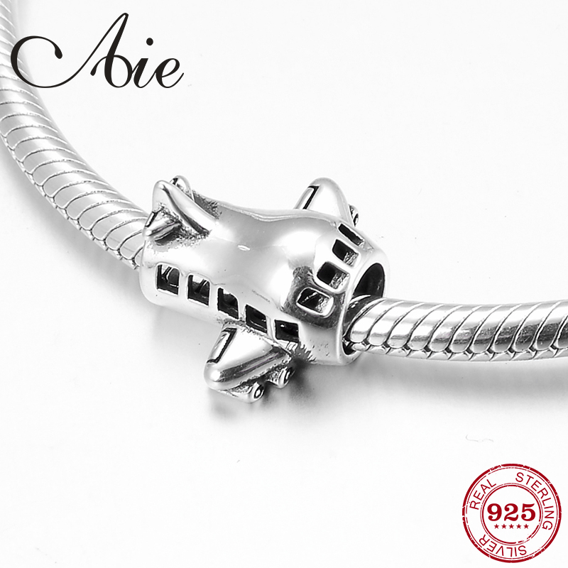 Fashion 925 Sterling Silver Creative Airplane Beads Fit Original Pandora Charms Bracelets Making 2019