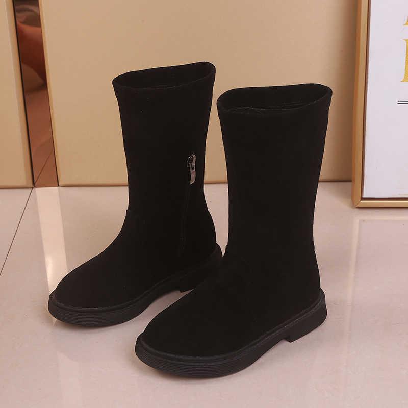 Kids meisjes laarzen voor winter Platte Zool Kinderen Prinses schoenen Warm houden Sneeuw Booties Dikker Pure Kleur Zwart Bruin SC097