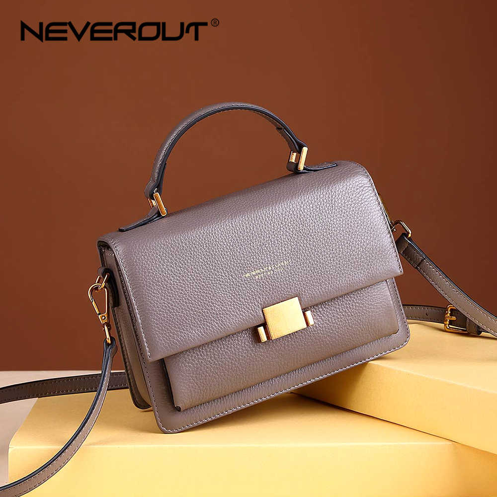 NEVEROUT Genuine Leather Shoulder Bag for Women Soft Crossbody Bag Sac A Main Handbags Designer Solid Elegant Messenger Bags