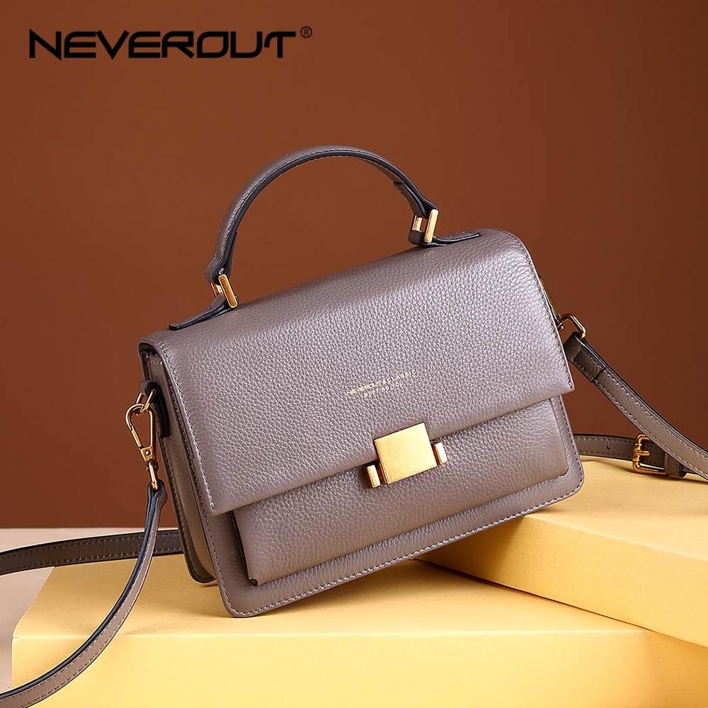 NEVEROUT Genuine Leather Shoulder Bag For Women Soft Crossbody Bag Sac A Main Handbags Designer Solid Elegant Messenger Bags