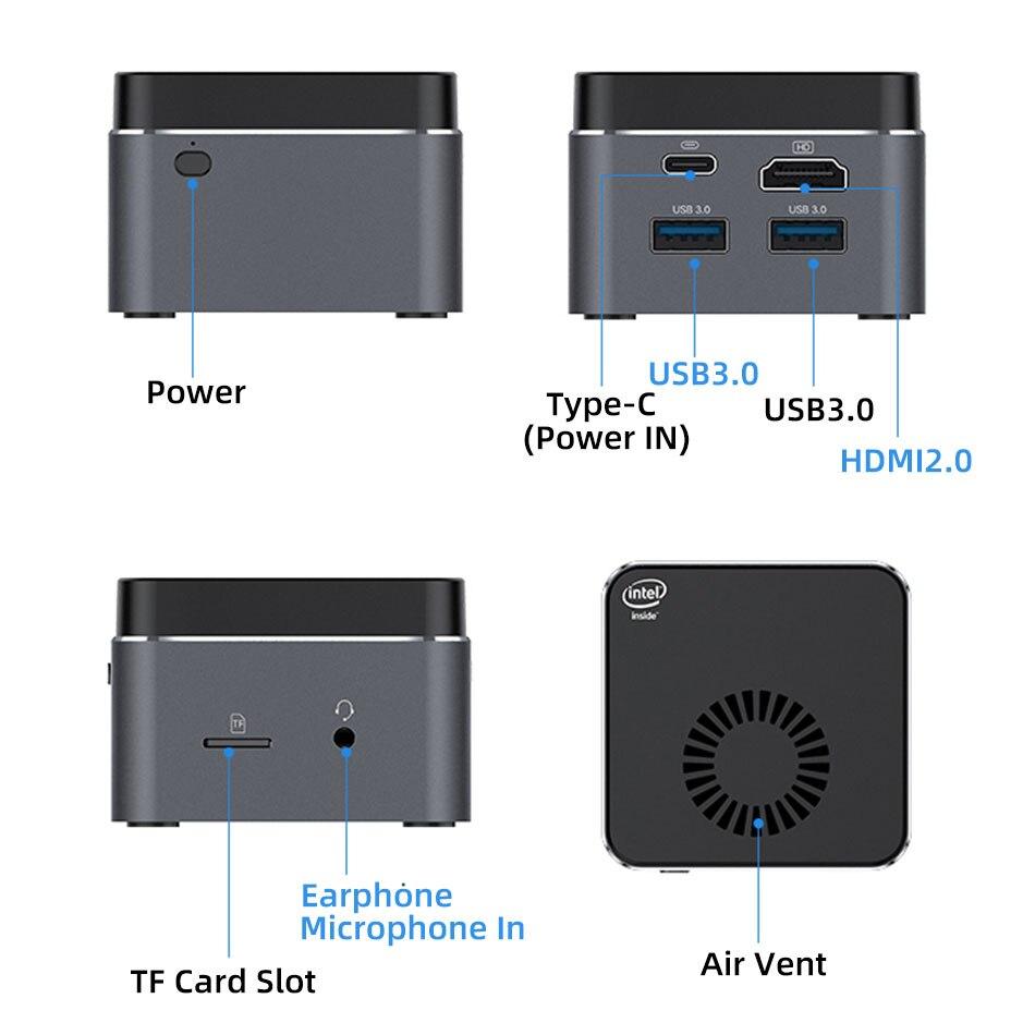 Mini PC Intel Celeron N4100 Quad-Core 8GB LPDDR4 128GB Computer 2.4G/5.0G Bluetooth 4.2 HDMI2.0 4K 60Hz USB-C Windows 10