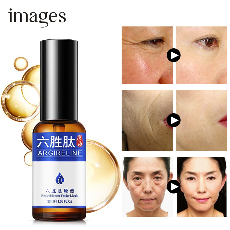 Images Collagen Six Peptide Anti Wrinkle Serum Whitening Anti-aging Essence Moisturizing Lift Shrink Pore Control Oil Skin Care