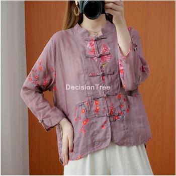2021 chińskie tradycyjne kobiety bluzka etniczne hanfu odzież chińska wróżka tangsuit starożytna bluzka luźne chińskie bluzki bluzki tanie i dobre opinie DecisionTree COTTON Linen CN (pochodzenie) Topy WOMEN Suknem