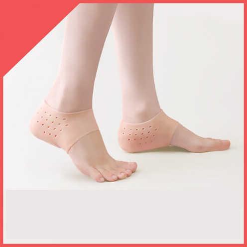 Calcetines invisibles para aumentar la altura, almohadillas para el talón para hombres y mujeres, plantillas de Gel de silicona para levantar, vestido en calcetines, herramienta de masaje para el cuidado de la piel del pie agrietado