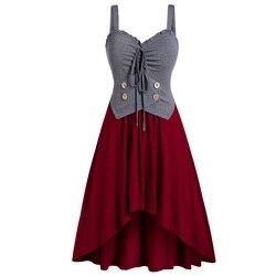 أزياء زائد حجم الحبيب طوق زر التباين تانك أعلى النساء القوطية أكمام عالية الخصر زر قميص طويل ألف خط كاميس