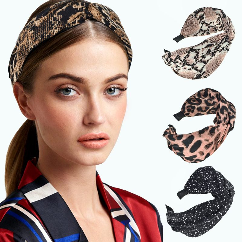 Vintage Women Knotted Cloth Wrapped Headband Leopard Patchwork Wide Hair Hoop Retro  Elastic Casual Headwear Hair Accessories