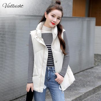 Vielleicht 2020 New Stand Collar Short Autumn Women Winter Vests Cotton Padded Jacket Sleeveless Female Hooded Waistcoat Vest pinkyisblack new down cotton vest women winter short waistcoat outerwear sleeveless jacket coat hooded autumn cotton vest female