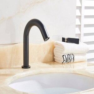 Image 2 - Robinet à capteur noir pour salle de bain, mitigeur de lavabo automatique, robinet déconomie deau à piles