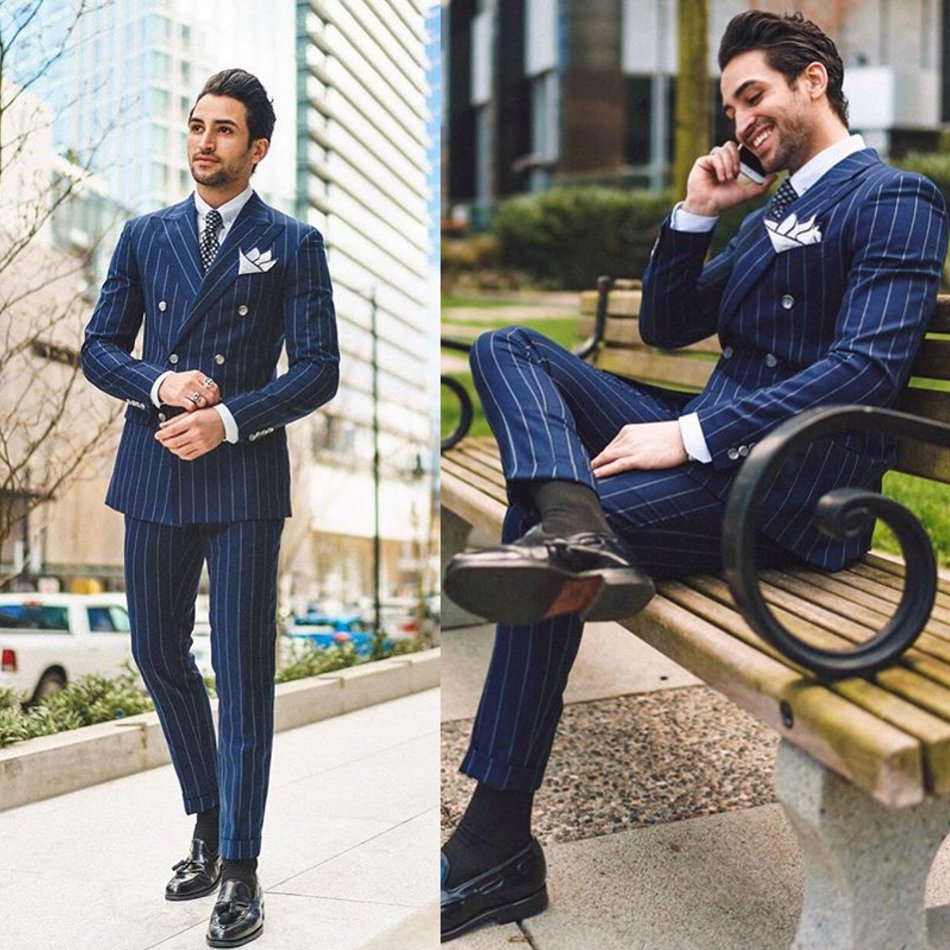 2020 Newest Mens Suits Polyester Blend 2 Piece (Coat+Pants) Peaked Lapel Terno Masculino Double-Breasted Striped Suit Slim Fit