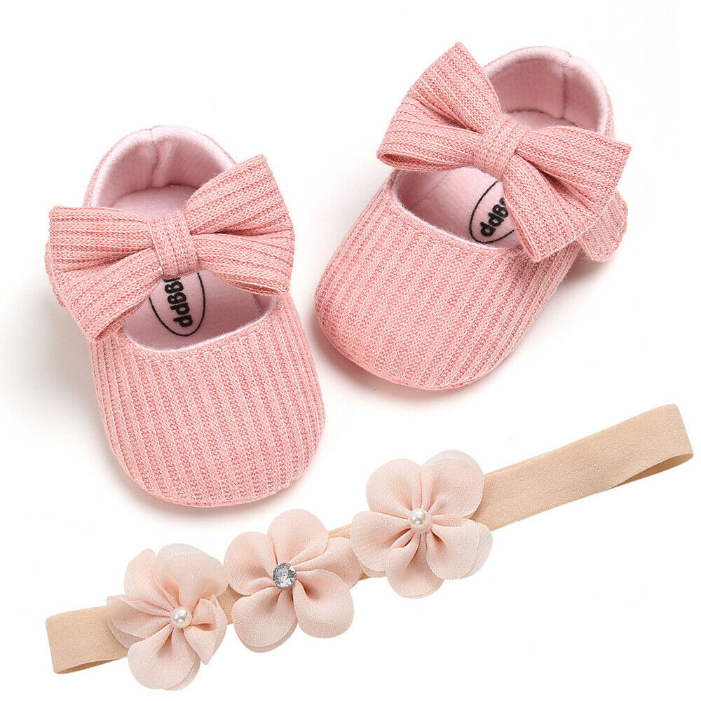 Pudcoco Spring Autumn Toddler Baby Girl Crib Shoes  Kids Bowknot Soft Sole Non-slip Prewalker Dress Shoes + Headband 0-18M