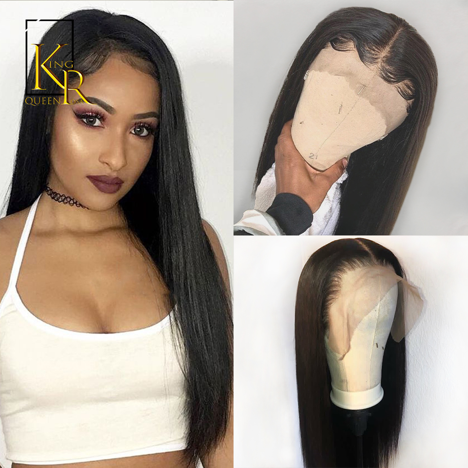 Short Lace Front Human Hair Wigs For Black Women 13x4 Remy Brazilian Straight Lace Wig Pre Plucked With Baby Hair KingRosaQueen