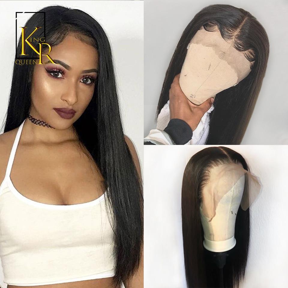 Kort spetsar Front Human Paryckar för svarta kvinnor 13x4 Remy Brazilian Straight Lace Wig Pre Plucked With Baby Hair KingRosaQueen