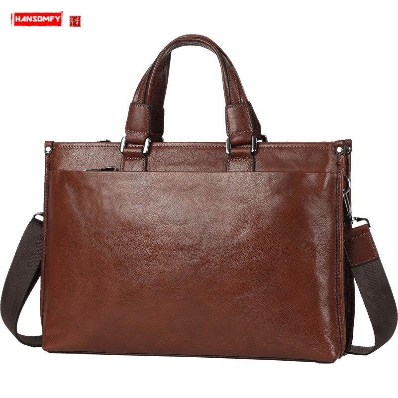 Leather Men's Bag Handbag Men Business Briefcase Genuine Leather Large Capacity Male Laptop Bag Shoulder Messenger Computer Bags