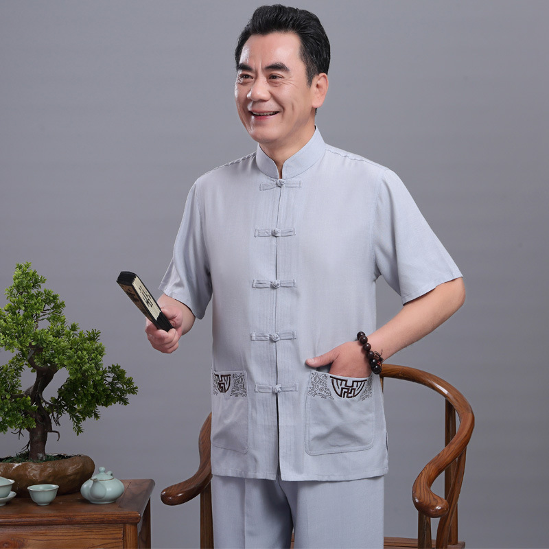 New Style Middle-aged Chinese Costume Embroidered Set Summer Short-sleeved Tai Chi Sports Set Old Man Thin Summer Wear Short Sle