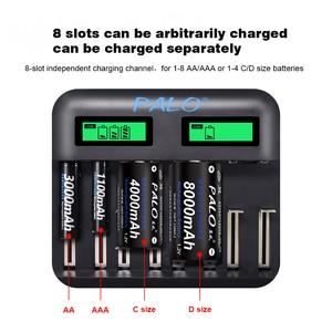Image 3 - פאלו AA AAA C D סוללה מטען עבור 1.2V AA AAA C D גודל נטענת סוללה מהיר חכם USB LCD מטען מהיר סוללה מטען
