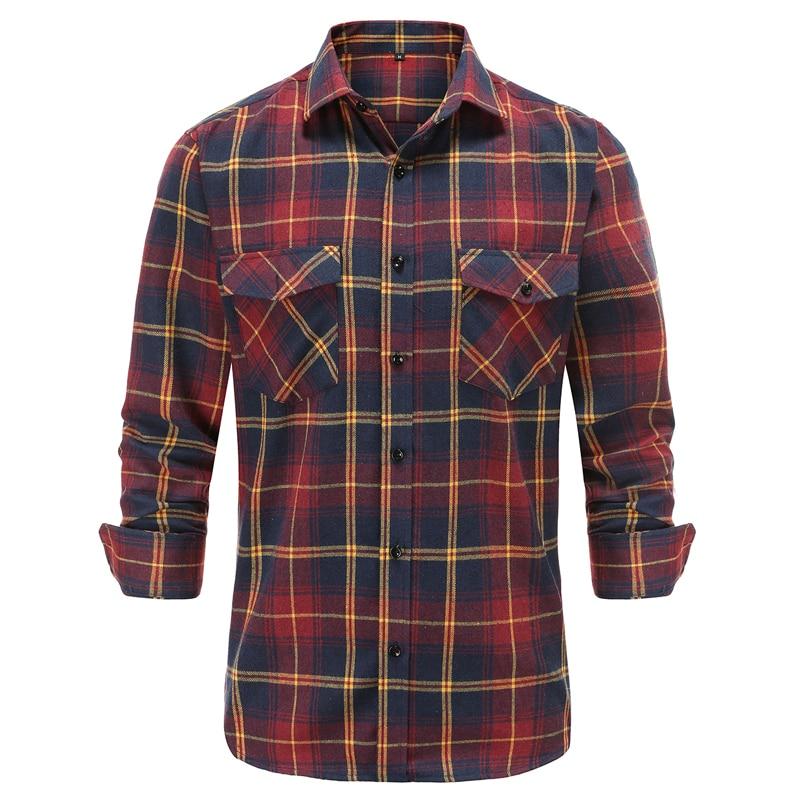 Casual Men Plaid Shirt Autumn Winter Flannel Shirt Men Dress Shirts Fashion Long Sleeve Slim Fit Chemise Homme Cotton Male Shirt