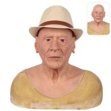 Masque dhalloween pour vieil homme, mascarade en Silicone réaliste, accessoires pour la tête complète, accessoire délicat Drag Queen