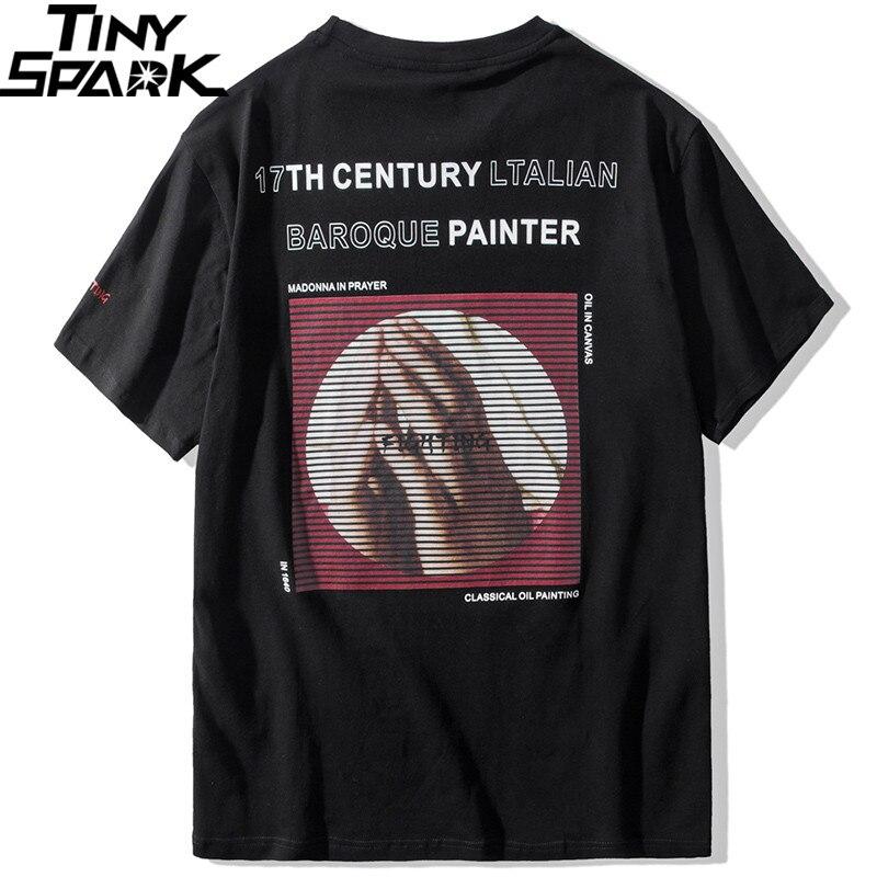Image 2 - Мужская футболка в стиле хип хоп, хлопковая футболка с коротким рукавом и винтажным принтом, 2019Футболки   -