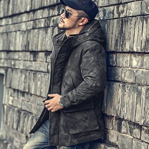 Winter Vintage Mid Long Men's Hooded Down Jacket Down Hat Coat Coat Wf9961