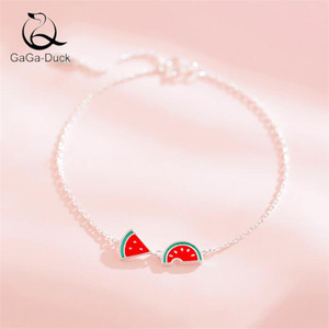 New Fashion Jewelry Creative Simple Cute Watermelon 925 Sterling Silver Personality Sweet Epoxy Fruit Bracelets B181