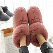 2019 Faux Fur Winter Warm Shoes Woman Men Indoor Slippers Soft Plush Anti-slip Lovers Home Floor Slipper Cotton Slides SH08271(China)