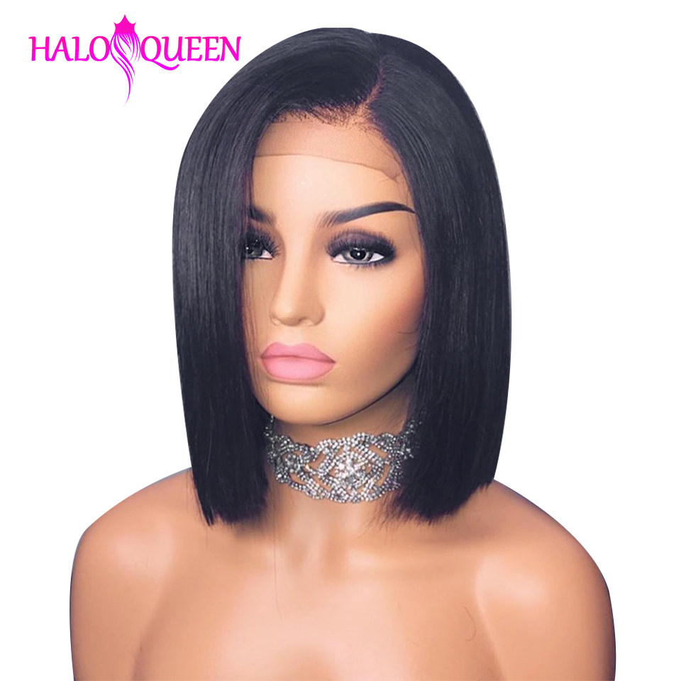 HALOQUEEN Wigs Hair Short Human-Hair-Wig Lace-Frontal Straight Bob Remy 13x4