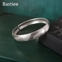 Bastiee Water Wave 999 Sterling Silver Bangle Men Bracelet For Women Thick Silver Bangles Hmong Handmade Luxury Jewelry Vintage uglyless real 999 silver fine jewelry women simple fashion thick bangles ethnic fish open bangle handmade engraved lotus bijoux