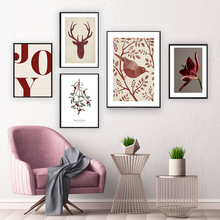 Nordic Quote Poster Print Joy Christmas Bird Antlers Flowers Canvas Painting Wall Art Picture Modern Interior Livingroom Decor