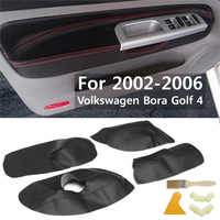 4Pcs/Set Car Protective Interior Door Panel Microfibre Leather Cover Accessory For Volkswagen Bora Golf 4 2002 2003 2004 05 06